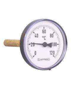 Heizungsthermometer  Bimetall ; 100 mm Gehäuse, 100 mm Fühler