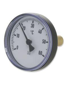 Heizungsthermometer  Bimetall ; 80 mm Gehäuse, 25 mm Fühler