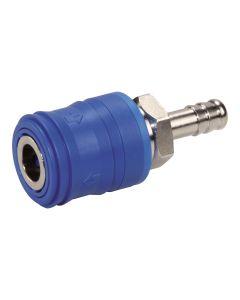 Einhand-Kupplung  DN 7,4 mit Sicherheitsentlüftung Schlauchanschluss Messing vernickelt ; 13 mm