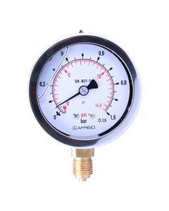 Manometer  Edelstahl Glyzerin NG 63 radial ; 0 bis 1 bar