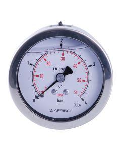 Manometer  Edelstahl Glyzerin NG 63 axial ; 0 bis 1 bar