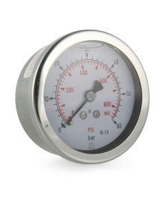 Manometer  Edelstahl Glyzerin NG 63 axial ; -1 bis 3 bar