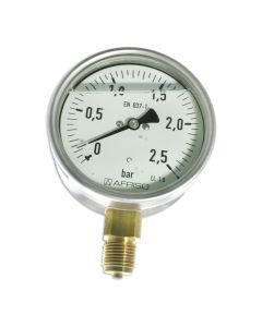 Manometer  Edelstahl Glyzerin NG 100 radial ; 0 bis 2,5 bar