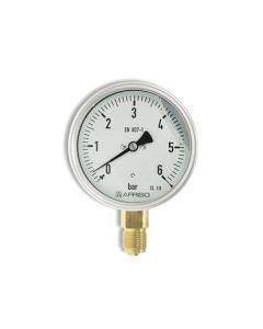 Manometer  Edelstahl Glyzerin NG 100 radial ; 0 bis 6 bar