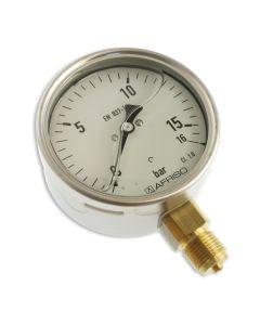 Manometer  Edelstahl Glyzerin NG 100 radial ; 0 bis 16 bar