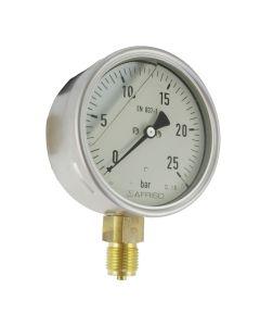 Manometer  Edelstahl Glyzerin NG 100 radial ; -1 bis +1,5 bar