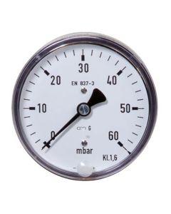 "Manometer  Kapselfeder Edelstahl NG 63 axial ; 0 bis 1.000 mbar; 1/4"""