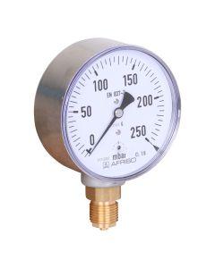 "Manometer  Kapselfeder Edelstahl NG 63 axial ; 0 bis 250 mbar; 1/4"""
