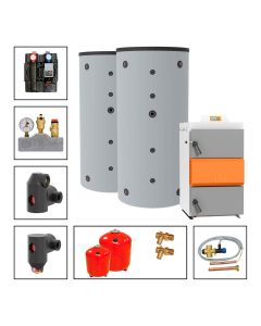 Holzvergaserkessel SOLARBAYER HVS LambdaControl Set LC 40-2C; 40 kW, Speicher 2 x SLS-1500-S