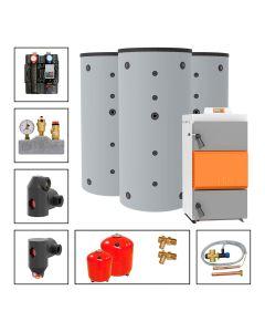Holzvergaserkessel SOLARBAYER HVS LambdaControl Set LC 40-3D; 40 kW, Speicher 3 x SLS-1000-S